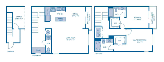 Floor Plan  Two Bedroom Floor Plan  at Horizon at Miramar, Florida, 33025