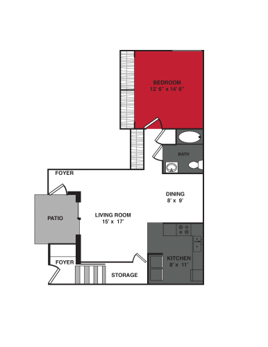 Floor Plan  1 Bed 1 Bath (840 sq ft) Floor Plan at Stonewood Village Apartments, Madison