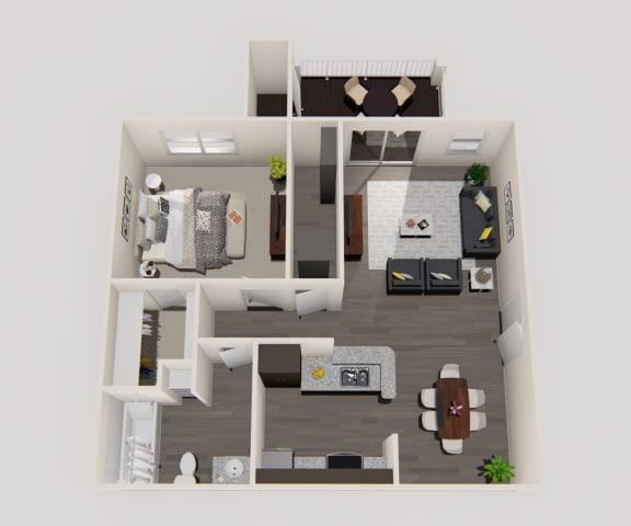 Floor Plan  1 Bedroom 1 Bathroom Floor Plan at Enclave on East, Florida