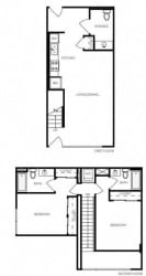 2 Bed 2 Bath 1065 square feet floor plan LW2A Townhouse