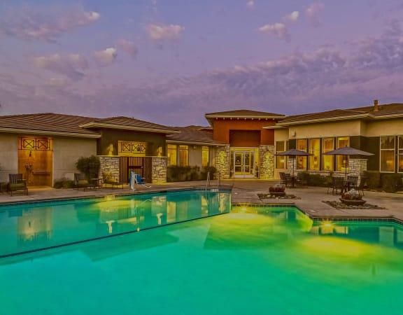 Quinn Crossing Apartments - Resort-style pool at dusk