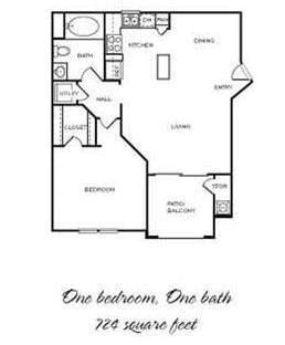 Floor Plan  Paso Fino - 1 Bedroom 1 Bath Floor Plan Layout - 724 Square Feet