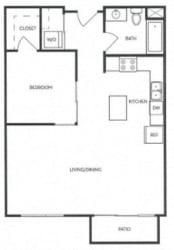 1 Bed 1 Bath 656 square feet floor plan B1A - MFTE
