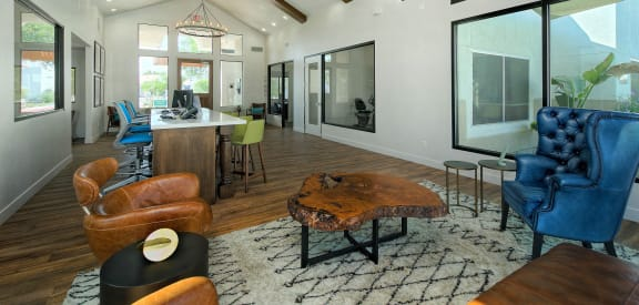 Large common area with wood beams at Elevate at Discovery Park in Tempe, AZ 85283