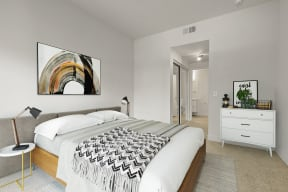 One Bedroom Apartments in Hollywood CA - Cahuenga Heights Apartments Bedroom with a Spacious Layout, Plush Carpetting, and Drawer
