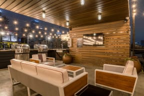 Rooftop Lounge Area with LED TV at Santa Fe Lofts 121 E 6th Street, Los Angeles, CA 90014