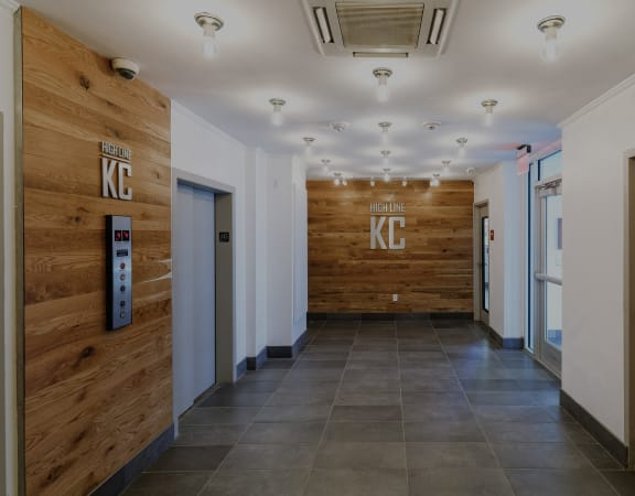 The KC High Line lobby and elevator bank