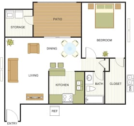 A3 Floor Plan at Newport Apartments, CLEAR Property Management, Irving