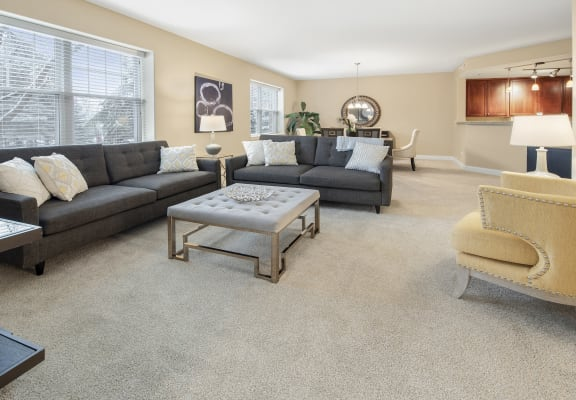 Living Room With Kitchen View at Two Itasca Place, Itasca, IL