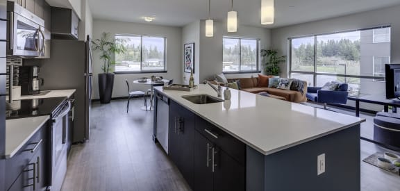 spacious kitchen at Vue 22 Apartments, Bellevue, WA 98007