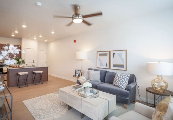 Decorated Living Room at Parc on 5th Apartments & Townhomes, Utah, 84003
