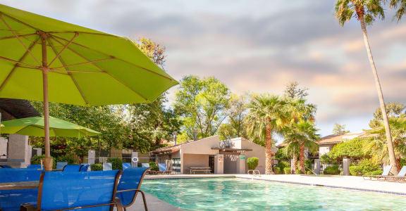 Outdoor poolside patio at Aztec Springs Apartments in Mesa, AZ 85207