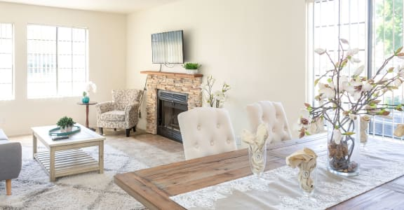 Open and Well-Lit Living Area at Edgewater Isle Apartments & Townhomes in Hanford, CA 93230