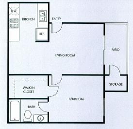 Floor Plan  One bedroom one bath floor plan