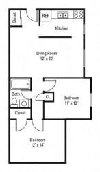 Floor Plan 2 Bedroom, 1 Bath 770 sq. ft.