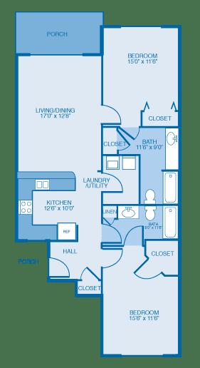 Floor Plan  Lark 1st Floor at Oak Hill Apartments and Townhomes, Rensselaer, New York