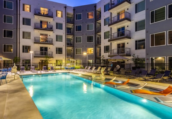 Pool View In Night Sky at Spoke Apartments in Atlanta, GA 30307