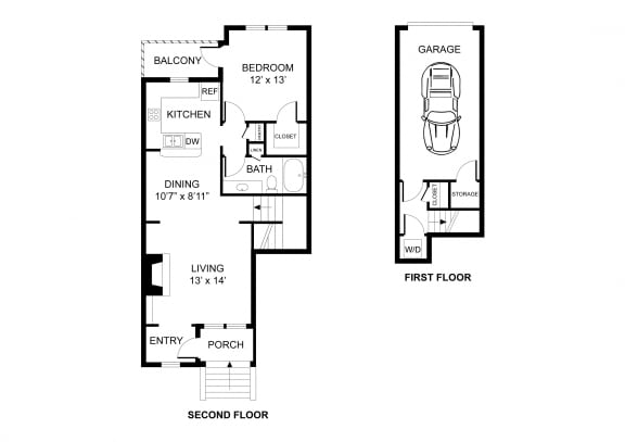 Floor Plan  One bedroom, one bathroom, townhome,  walk-in closet, laundry room, hvac room, pantry, living room, kitchen THE AMHERST floor plan, 819 square feet.