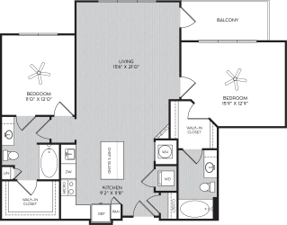 B1c Two Bedroom Floor Plan with Balcony at Apartment Homes For Rent in Vinings, GA