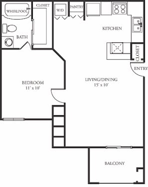 Floor Plan  A1 Floor Plan at The Grove at White Oak Apartments, The Barvin Group, Houston