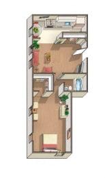 Windsor 1 Bedroom 1 Bath Floorplan at Barclay, Washington