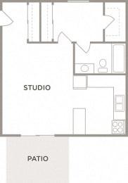 The Ash Studio Floor Plan at Kingston Square Apartments, Indianapolis, 46226