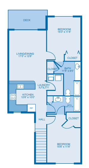Floor Plan  Lark 2nd Floor at Oak Hill Apartments and Townhomes, Rensselaer, NY