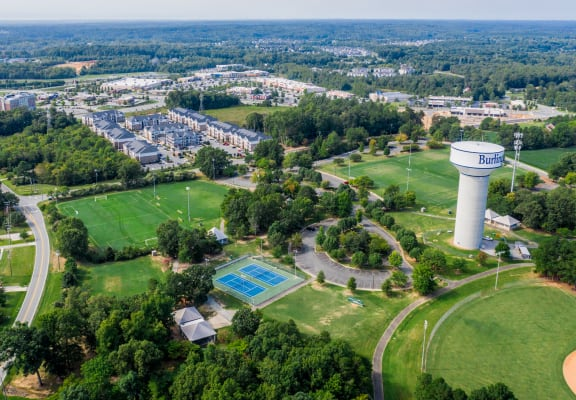 Aerial view of Retreat at the Park and surrounding neighborhood in Burlington, NC
