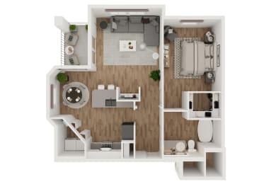 Copia  – 1 Bedroom 1 Bath Floor Plan Layout – 823 Square Feet