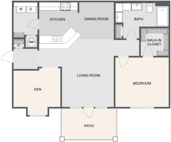 Floor Plan  1 Bed / 1 Bath w/Den