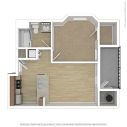 One bedroom One bathroom Floor Plan A1 at Andante Apartments, Phoenix, AZ, 85048