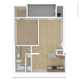 One bedroom One bathroom Floor Plan A3at Andante Apartments, Phoenix, 85048