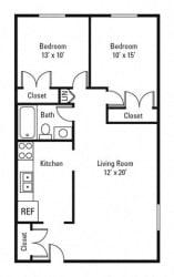 Floor Plan 2 Bedroom, 1 Bath 730 sq. ft.