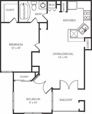 Floor Plan  A2 Floor Plan at The Grove at White Oak  Apartments, The Barvin Group, Houston, 77008