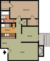 B1 Floor Plan at The Daphne Apartments, The Barvin Group, Houston, 77054