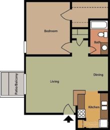 A1 Floor Plan at The Daphne Apartments, The Barvin Group, Houston, TX