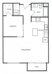 1 Bed 1 Bath 656 square feet floor plan B1A