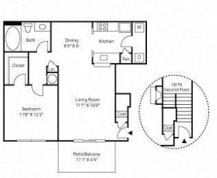 The Onyx Floor plan, 1 bedroom, 1 bath