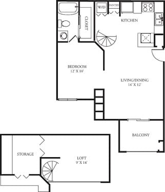 Floor Plan  A3 Floor Plan at The Grove at White Oak Apartments, The Barvin Group, Houston, TX, 77008