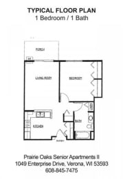 1 bedroom, 1 bathroom floorplan