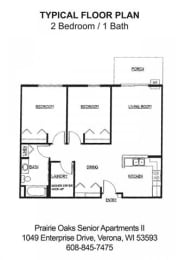 2 bedroom, 1 bathroom floorplan