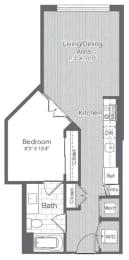 Floor Plan 1 Bed/1 Bath-A8