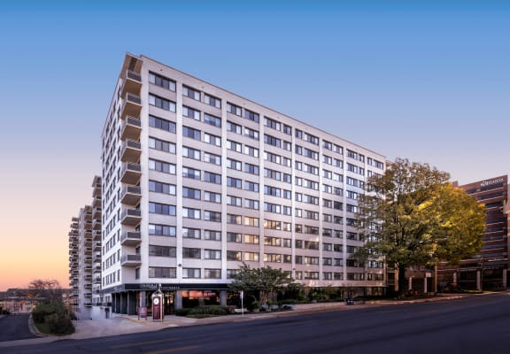 exterior view of Colesville Towers apartments in Silver Spring MD at dusk