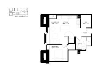 Floor Plan 1 Bed 1 Bath Plus A