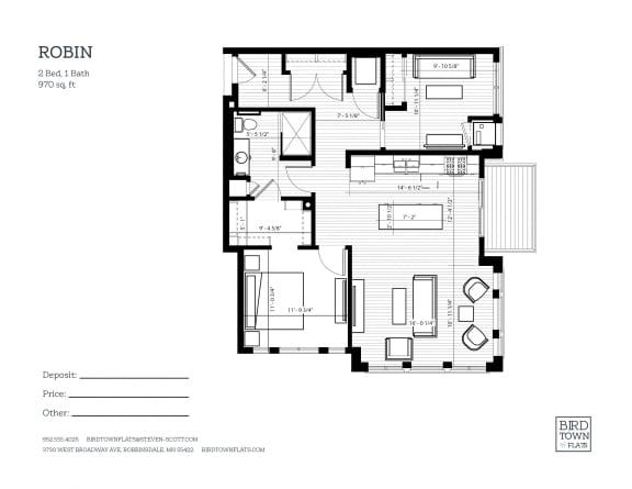 Floor Plan  Robin Floor Plan at Birdtown Flats, Robbinsdale, Minnesota