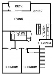 Francis Park Apartments 2x1 Floor Plan 884 Square Feet