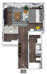 The Leigh 3D studio apartment with kitchen that opens into living and flex space. One Bathroom with linen storage and closet.