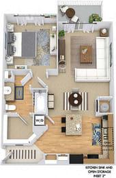 Hummingbird 3D. 1 bedroom apartment. Kitchen with island open to living/dinning rooms. 1 full bathroom. Walk-in closet. Patio/balcony.
