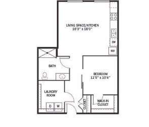 Kellogg Square Apartments in St. Paul, MN 1 Bedroom 1 Bath Apartment