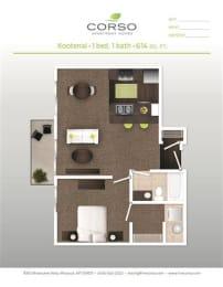 1 Bed, 1 Bath Floor Plan at Corso Apartments, Missoula, MT, 59801